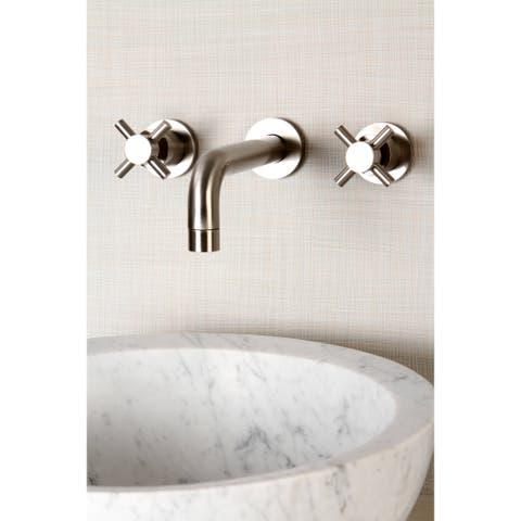 Wall-mount Brushed Nickel Vessel Bathroom Faucet