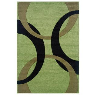 Linon Corfu Collection Lime and Black Area Rug (8' x 10'3)