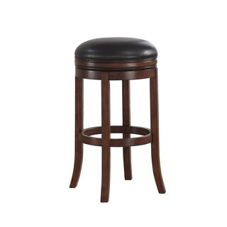 Greyson Living Shelby Brown Bonded Leather Seating Wood Frame 34-inch Extra Tall Swivel Bar Stool