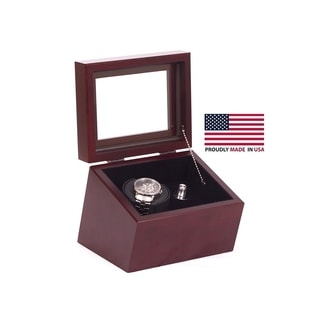 American Chest 'The Brigadire' Solid Cherry and Rich Mahogany Single Watch Winder