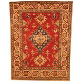 Herat Oriental Afghan Hand-knotted Kazak Red/ Beige Wool Rug (4'2 x 5'6)