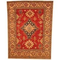 Handmade Herat Oriental Afghan Kazak Red/ Beige Wool Rug  - 4'2 x 5'6 (Afghanistan)