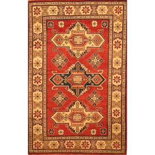 Herat Oriental Afghan Hand-knotted Kazak Red/ Beige Wool Rug (3'11 x 6'1)
