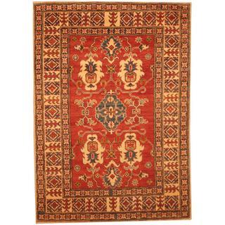 Herat Oriental Afghan Hand-knotted Kazak Red/ Beige Wool Rug (4'6 x 6'2)