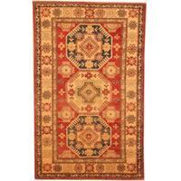 Herat Oriental Afghan Hand-knotted Kazak Red/ Beige Wool Rug - 3'6 x 5'7