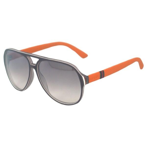 46ac708e99a Shop Gucci Men s GG 1065 S 4UTIC Grey White Brick Aviator Sunglasses ...