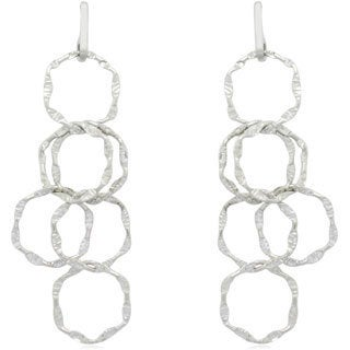 Gioelli Sterling Silver Italian Flat Hammered Linked-disc Dangle Earrings