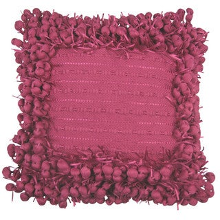 Hand-woven Fuchsia Poly Nubs 18-inch Feather-filled Throw Pillow