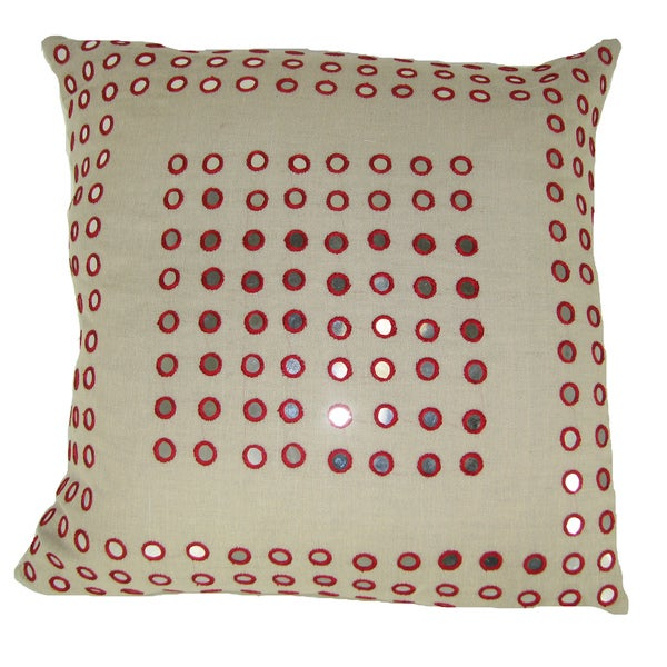 Red Mirror Frame Feather-filled 20-inch Throw Pillow