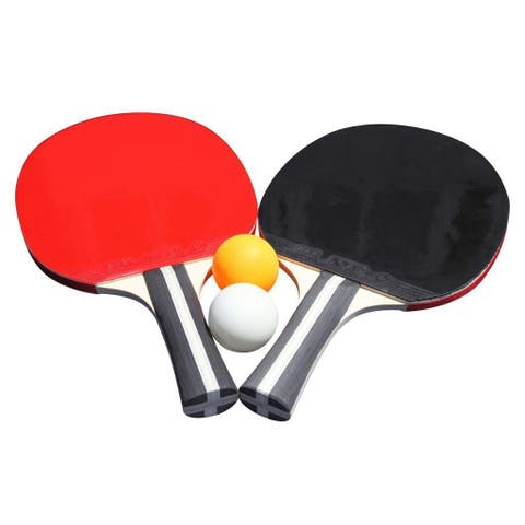 Single Star Control Spin Table Tennis 2-player Racket and Ball Set - Multi-color