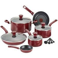 T-Fal Excite 14-piece Red Aluminum Non-stick Cookware Set