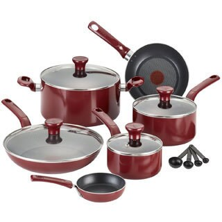 T-Fal 'Excite' Red Non-stick 14-piece Cookware Set