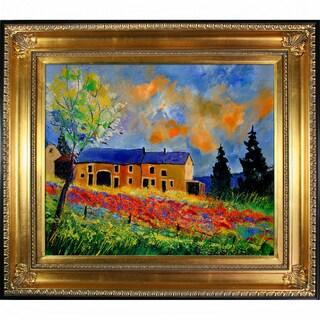 Pol Ledent Red poppies in Houroy Framed Fine Art Print
