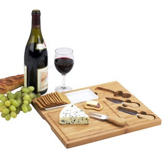 Picnic at Ascot Celtic Bamboo Cheese Board Set with Ceramic Dish and 3 Cheese Tools - Brown