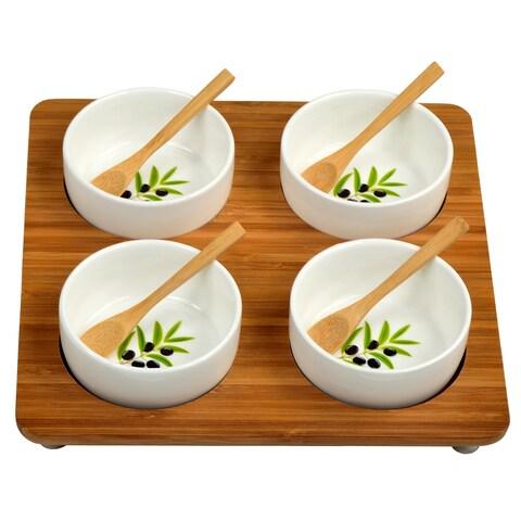 Picnic at Ascot Bamboo Entertaining Set with 4 Ceramic Bowls