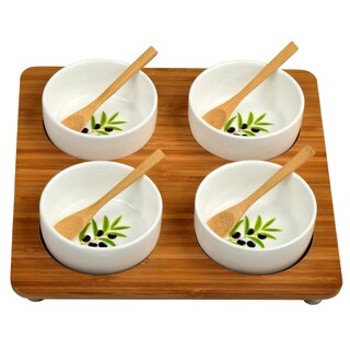 Picnic at Ascot Bamboo Entertaining Set with 4 Ceramic Bowls