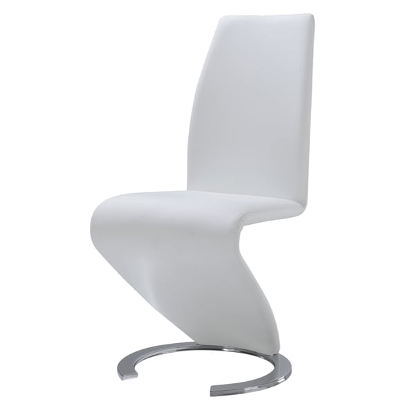 Modern White Polyurethane Leather Dining Chair Free Shipping