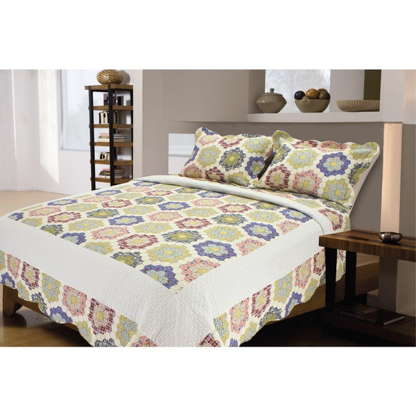 Honeycomb Cotton Patchwork 3-Piece Quilt Set