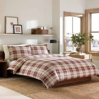 Eddie Bauer Montlake Plaid Red Flannel 3-piece Duvet Cover Set|https://ak1.ostkcdn.com/images/products/9397817/P16586551.jpg?impolicy=medium