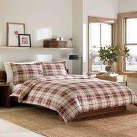 Eddie Bauer Montlake Plaid Red Flannel 3-piece Duvet Cover Set