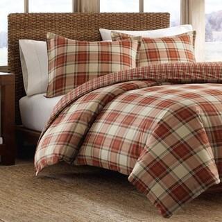 Eddie Bauer Edgewood Red Plaid Cotton 3-piece Duvet Cover Set