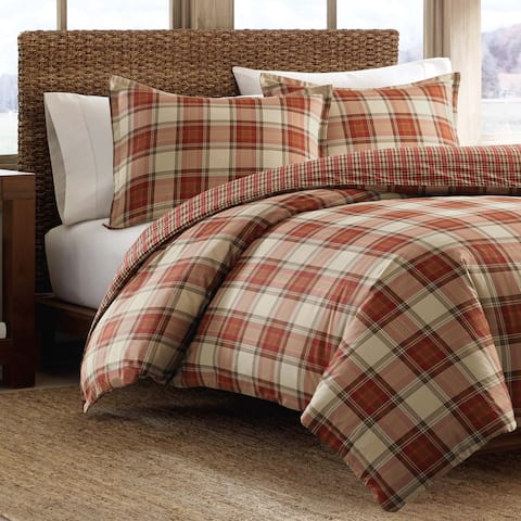 Eddie Bauer Edgewood Red Plaid Cotton 3-piece Duvet Cover Set