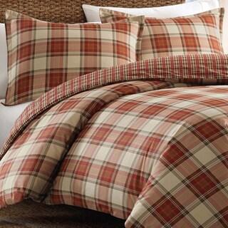 eddie bauer edgewood red plaid cotton 3piece duvet cover set