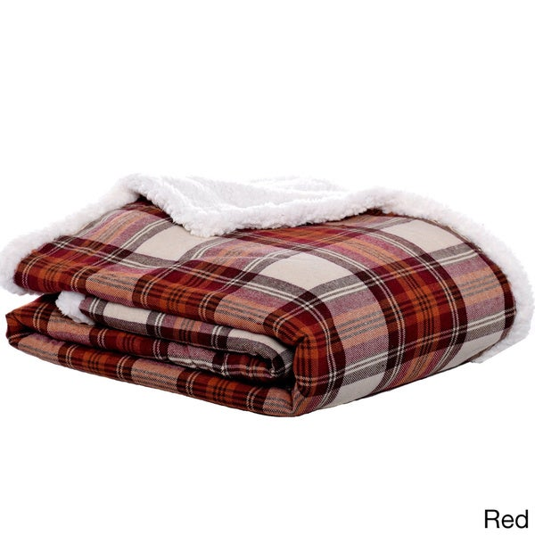 Eddie Bauer Edgewood Plaid Flannel Sherpa Throw