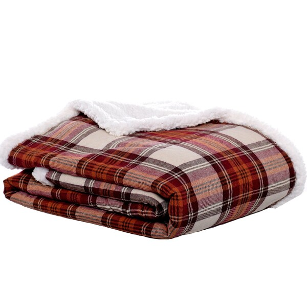 Eddie Bauer Edgewood Plaid Flannel Sherpa Throw Free