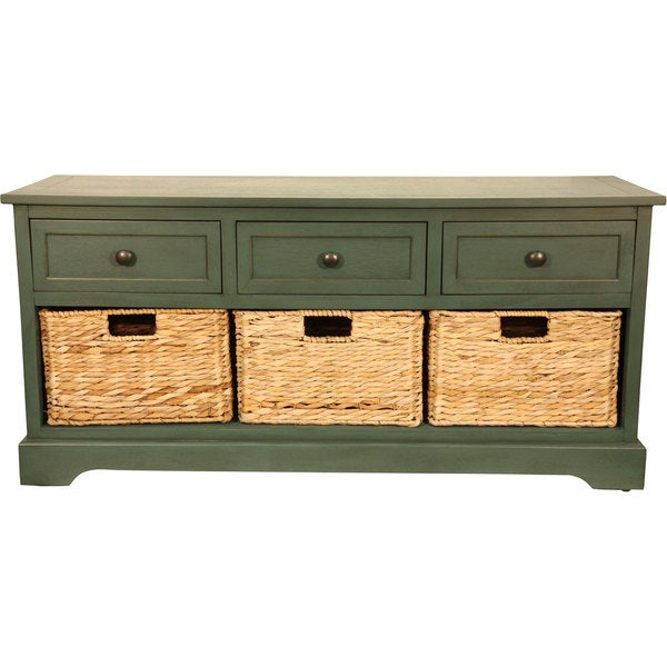 Montgomery Storage Bench With Woven Baskets Free Shipping Today