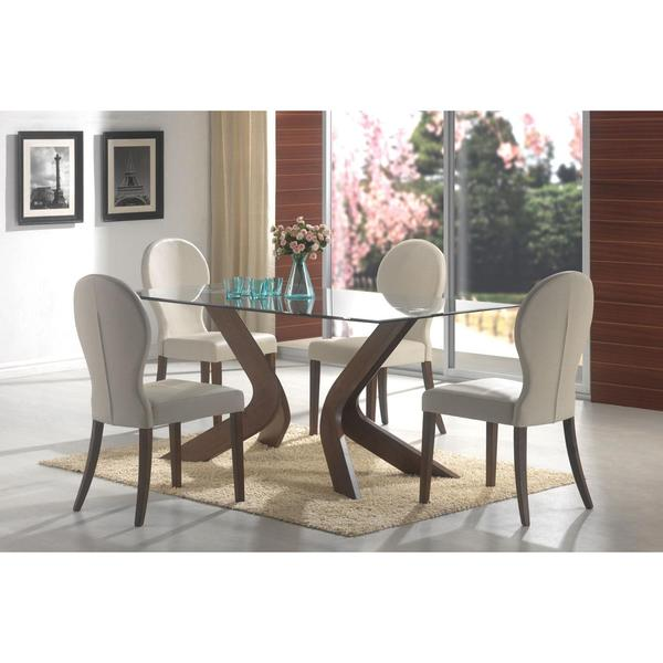 Shop Ella Glass 5-piece Walnut Dining Set