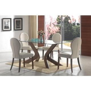 Ella Glass 5-piece Walnut Dining Set