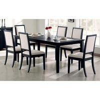 Robles Black and Creme Chenille 7-piece Dining Set