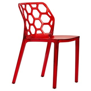 LeisureMod Cove Red Honeycomb Lucite Dining Side Chair