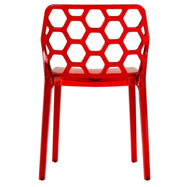 Incredible Shop Leisuremod Cove Red Honeycomb Lucite Dining Side Chair Beatyapartments Chair Design Images Beatyapartmentscom