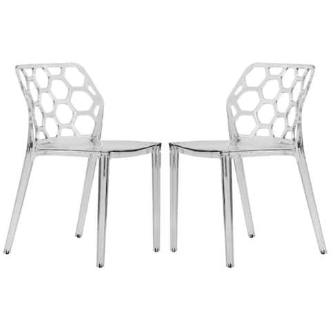LeisureMod Cove Clear Honeycomb Lucite Dining Side Chair Set of 2