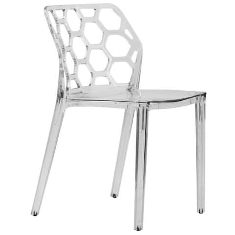 LeisureMod Cove Clear Honeycomb Lucite Dining Side Chair