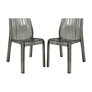 LeisureMod Denville Transparent Black Modern Dining Chair (Set of 2)