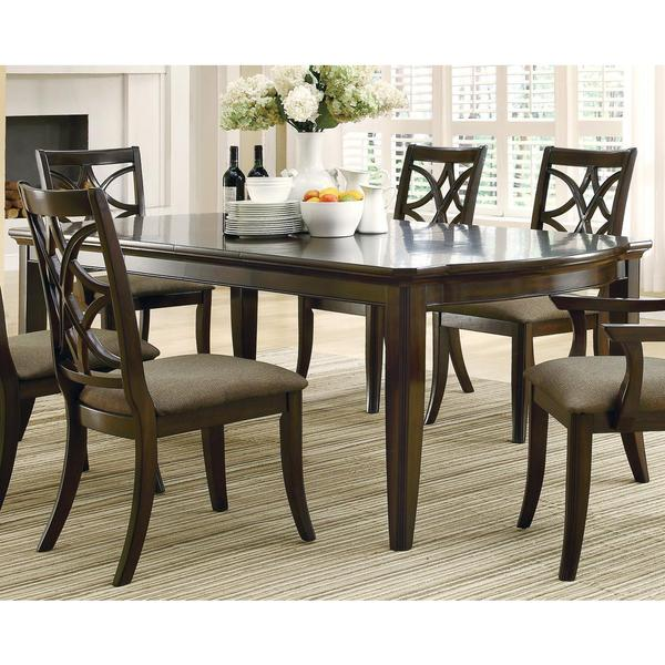 allen espresso finish 7-piece dining set with extension leaf