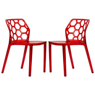 LeisureMod Cove Transparent Red Dining Chair (Set of 2)