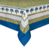 Couleur Nature Blue and Green Printed Rectangle Tablecloth