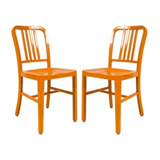 LeisureMod Alton Orange Dining Chair (Set of 2)