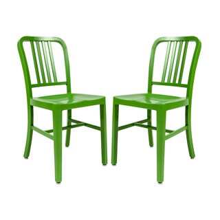 LeisureMod Alton Green Modern Aluminum Dining Side Chair Set of 2