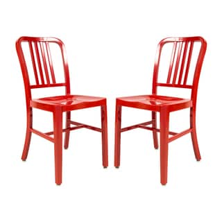 LeisureMod Alton Red Dining Chair (Set of 2)