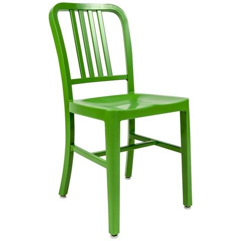 LeisureMod Alton Green Modern Aluminum Dining Side Chair - N/A