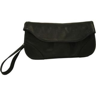Women's Piel Leather Clutch/Large Wristlet 2885 Black Leather (As Is Item)