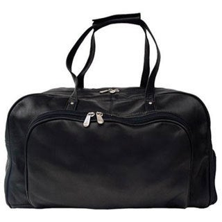 Piel Leather Black Deluxe Carry On Duffel Bag