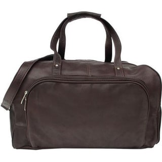 Piel Leather Chocolate Deluxe Carry On Duffel Bag