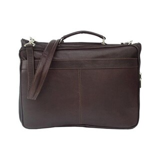 Piel Leather Chocolate Double Compartment Executive Briefcase