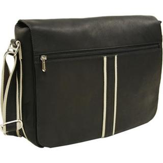 Piel Leather Black Four-Section Urban Messenger Bag - Free ...